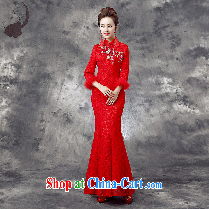 Dream of the day 2015 new bride's wedding dresses qipao improved cultivation crowsfoot dresses winter clothes bows dress dresses winter Q 863 red tailored