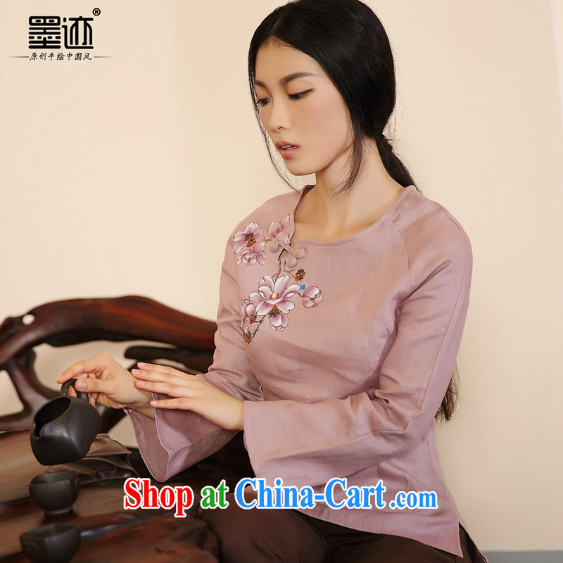 Ink 201 spring new hand-painted original improved Chinese Han-T-shirt female Chinese National wind solid shirt light purple XXL