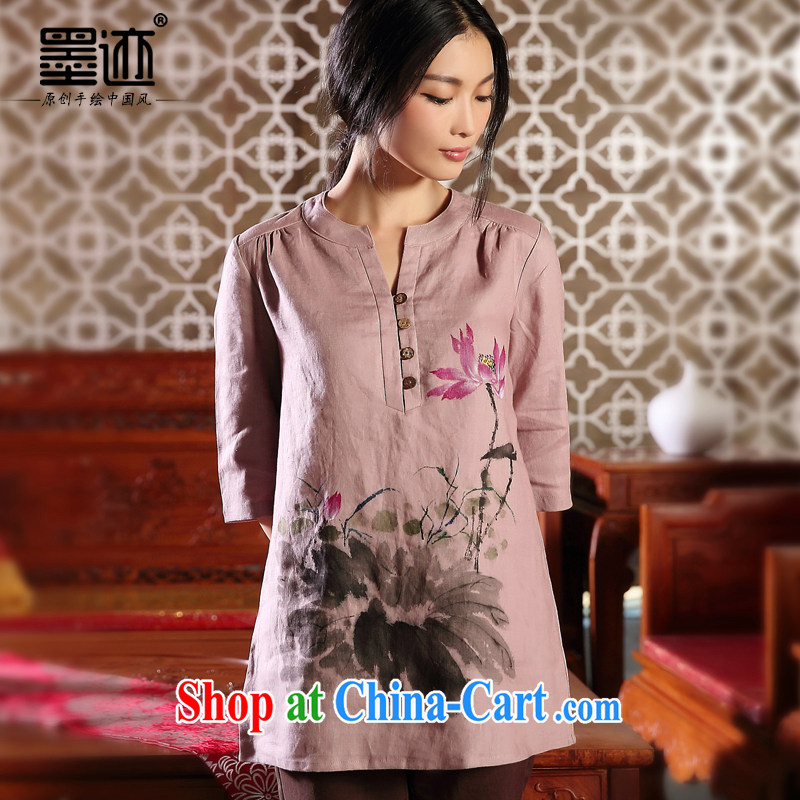 Autumn marks the new hand-painted original cotton Ma Tang women-han-T-shirt ethnic wind in beauty T-shirt purple XXL