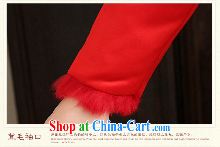 2015 tslyzm toast winter clothing bridal wedding dress retro puncture the thick warm cotton robes Red Red XL pictures, price, brand platters! Elections are good character, the national distribution, so why buy now enjoy more preferential! Health