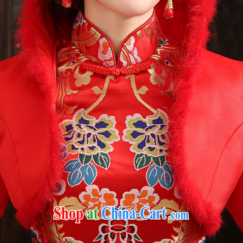 2015 tslyzm toast winter clothing bridal wedding dress retro puncture the thick warm cotton robes Red Red XL, Tslyzm, shopping on the Internet