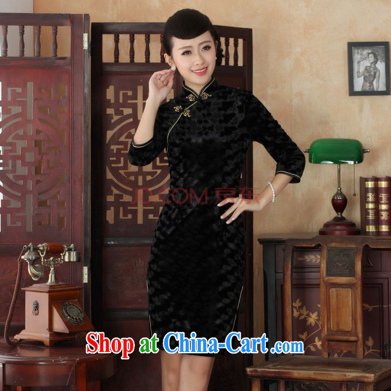 The frequency Chinese improved cheongsam dress long skirt-stretch the wool beauty dresses skirts 7 Cuff - A black 2 XL