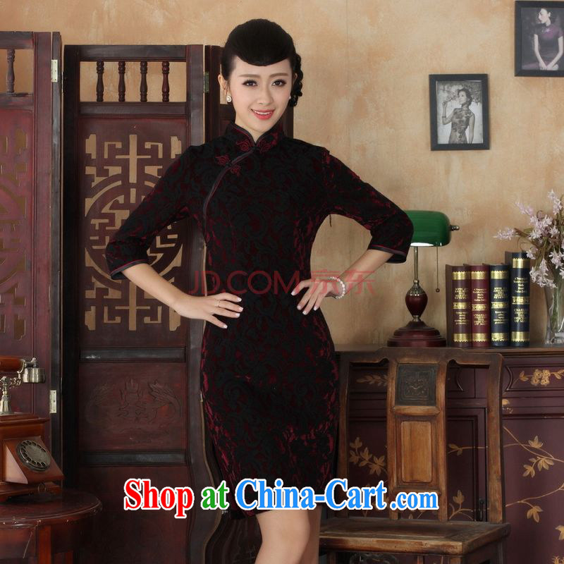 The frequency Chinese improved cheongsam dress long skirt-stretch lace gold velour cheongsam beauty skirt 7 cuff TD 0022 Map Color 2 XL