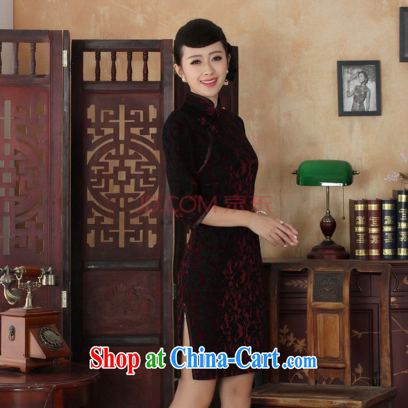 The frequency Chinese improved cheongsam dress long skirt-stretch lace gold velour cheongsam beauty skirt 7 cuff TD 0022 Map Color 2 XL, picking-frequency, and shopping on the Internet