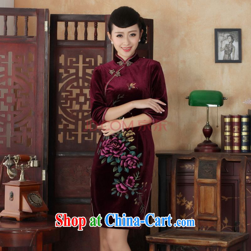 The frequency Chinese improved cheongsam dress long skirt-stretch the wool beauty dresses skirts 7 cuff wine red 2 XL