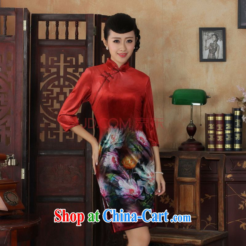 The frequency Chinese improved cheongsam dress long skirt-stretch the wool beauty dresses skirts 7 cuff picture color 2 XL