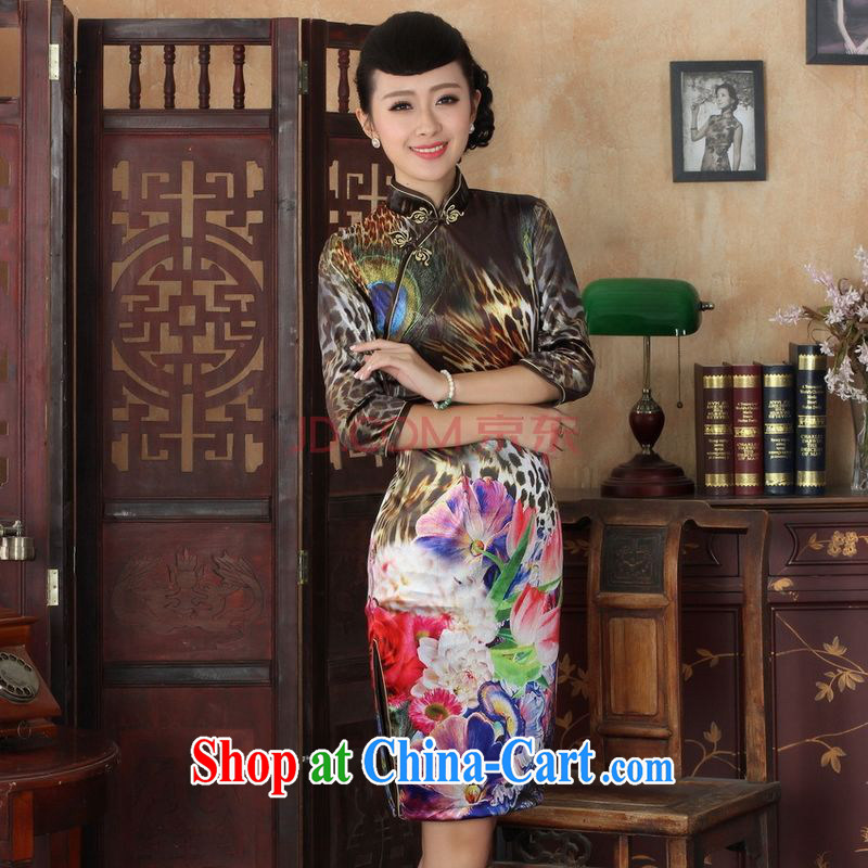 The frequency Chinese improved cheongsam dress long skirt-stretch the wool Peacock dresses 7 cuff picture color 2 XL