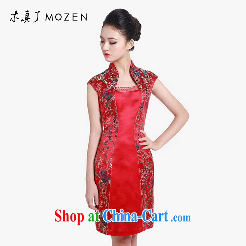 Wood is really the 2015 spring and summer new Chinese floral elegant short sleeve cheongsam dress 80,608 04 deep red XXL