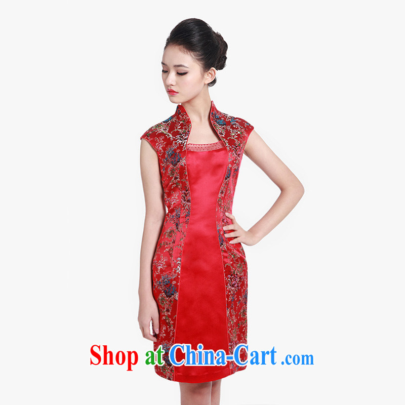 Wood is really the 2015 spring and summer new Chinese floral and elegant short sleeve cheongsam dress 80,608 04 deep red XXL, wood really has, shopping on the Internet