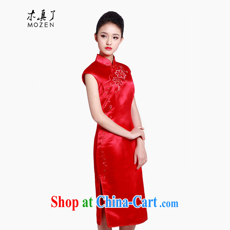 Wood is really the 2015 spring and summer new sleeveless embroidered below the Lao Silk Cheongsam bridal Women's clothes 80,589 04 deep red XXL