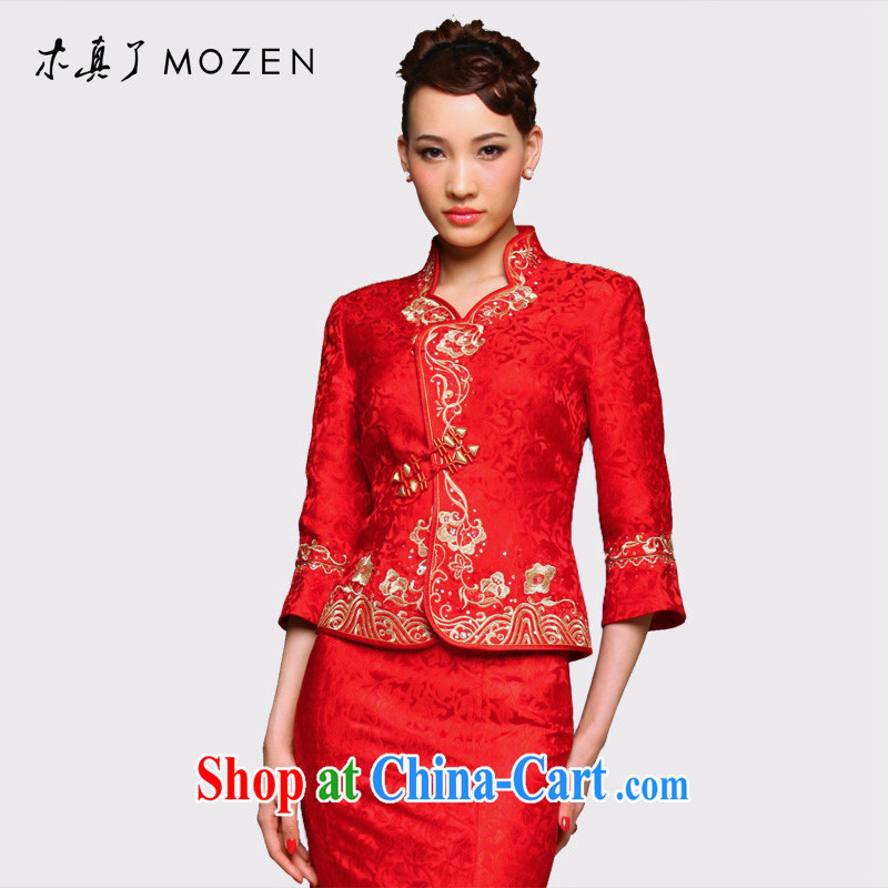 Wood is really the 2015 new Chinese wedding jacket bridal with bows girls T-shirt 01,118 05 light red S