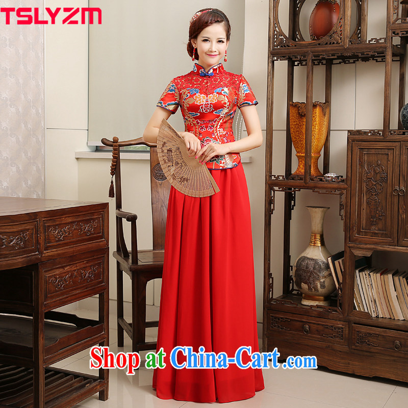 Tslyzm Chinese wedding dress bridal toast service 2015 qipao improved spring new short-sleeved long red XXXL