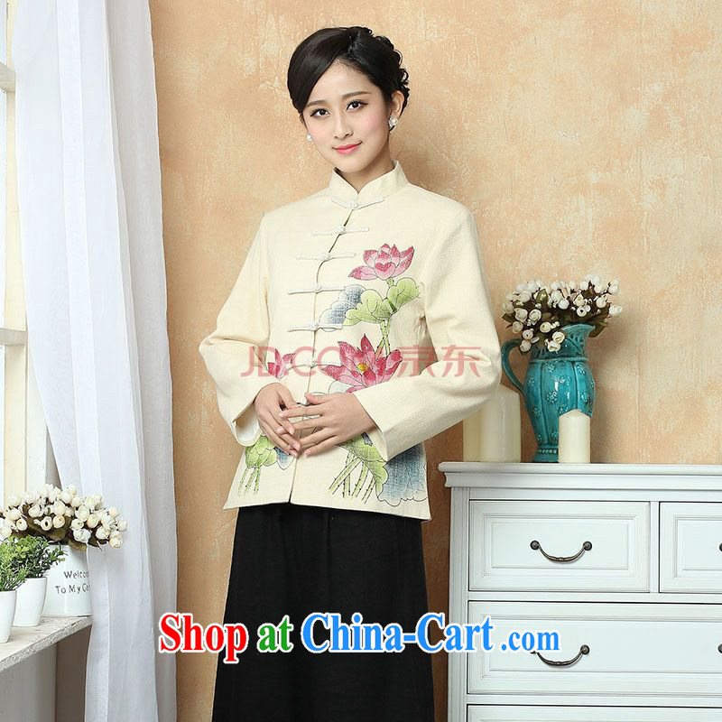 The frequency female Tang with autumn and winter jackets with jacket, cotton for the Chinese T-shirt national costume show clothing - 2 beige 3XL