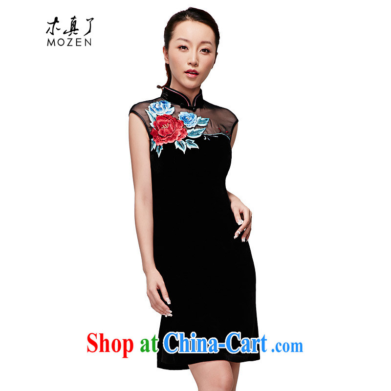 Wood is really a qipao 2015 spring and summer new, modern embroidery cheongsam dress high-end elegant dress girls winter dresses 22,246 01 black XXL _A_