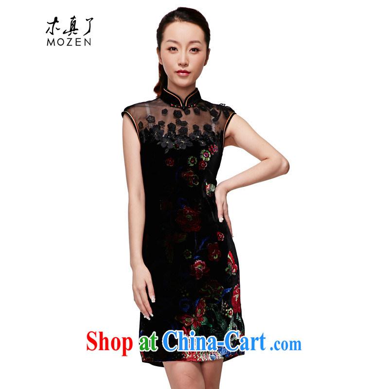Wood is really the 2015 spring and summer new dress velvet cheongsam silk silk Chinese Dress elegant winter dresses 11,719 01 black XXL