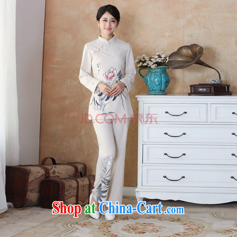 The frequency in older Ms. cotton load the spring loaded package, for hand-painted Chinese T-shirt pants Package - 1 beige XL