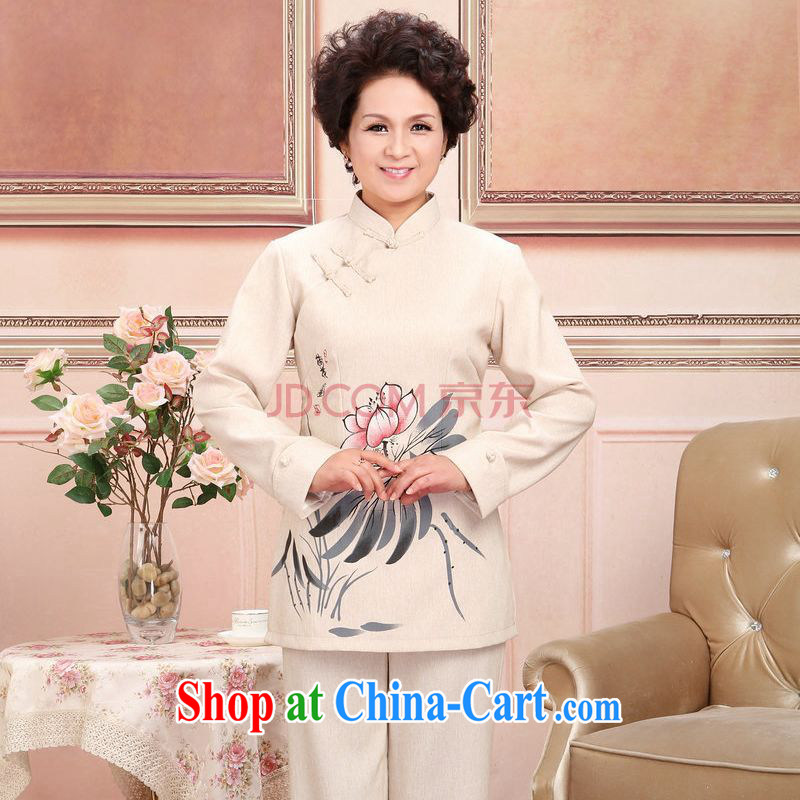 The frequency in older Chinese men and women couples taxi loaded spring and fall jacket cotton long-sleeved T-shirt the pants kit, white package 3 XL