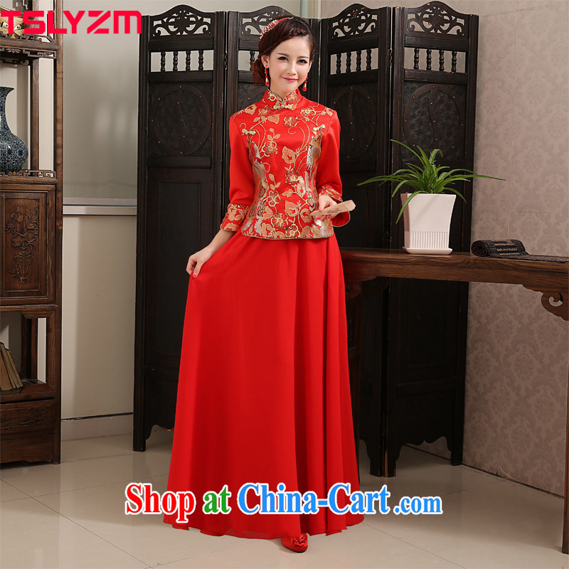 Tslyzm wedding dress toast clothing qipao improved long spring 2015 new bride's long-sleeved Chinese wedding show reel service Chinese dragon and red XXL