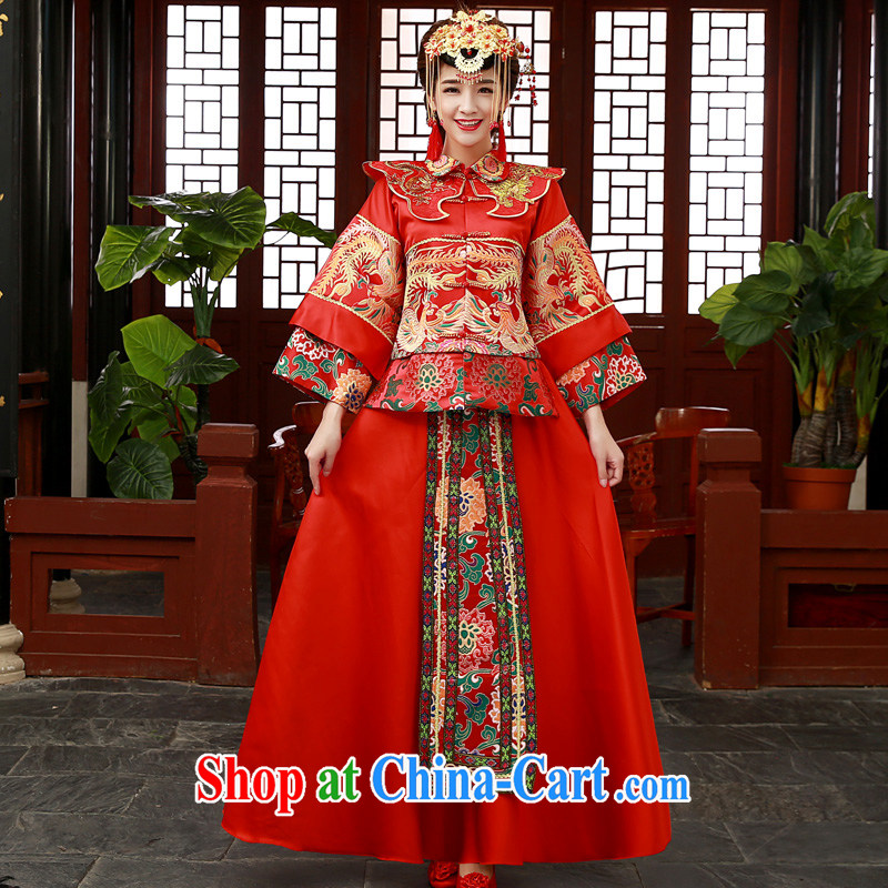 A good service is 2014 new winter bridal wedding dress qipao toast serving Sau Wo service use phoenix Sau kimono red 2 XL