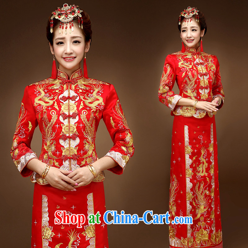 A good service is 2015 new winter bridal show reel service wedding dress Phoenix use of dress qipao toast serving red 2 XL
