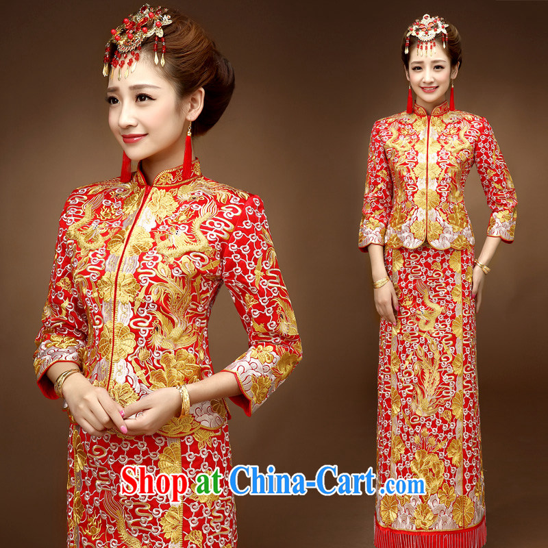 Service was good in autumn and winter-su Wo service Chinese married Yi bridal wedding dress qipao toast serving the 5 well Phoenix and red 2 XL