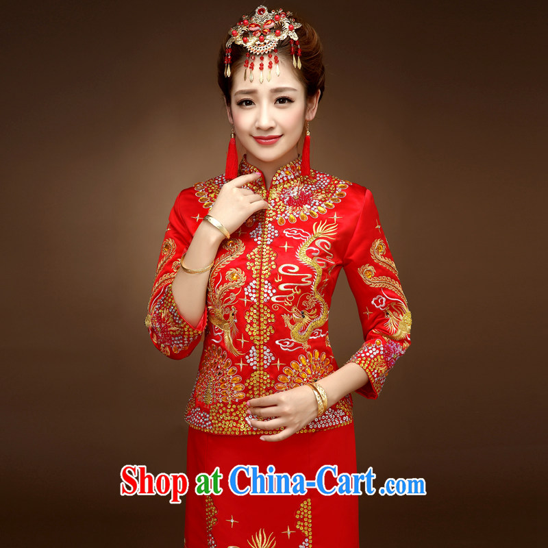Service was good in autumn and winter brides with Su-wo Service serving toast wedding dresses cheongsam Dragon skirt use of Chinese married Yi red 2 XL