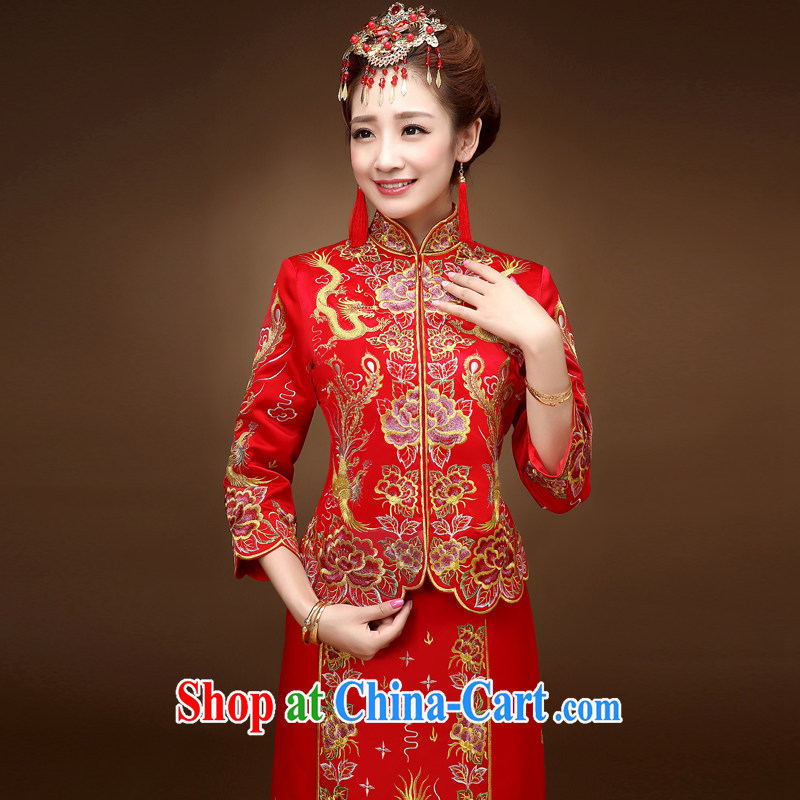 Service was good in autumn and winter red Chinese woman bridal wedding dress toast clothing qipao Sau Wo service use phoenix skirt of red 2 XL