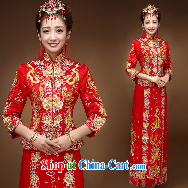 Service was good in autumn and winter brides with toast clothing wedding dress show reel service Phoenix use of dress qipao Chinese married Yi red 2 XL
