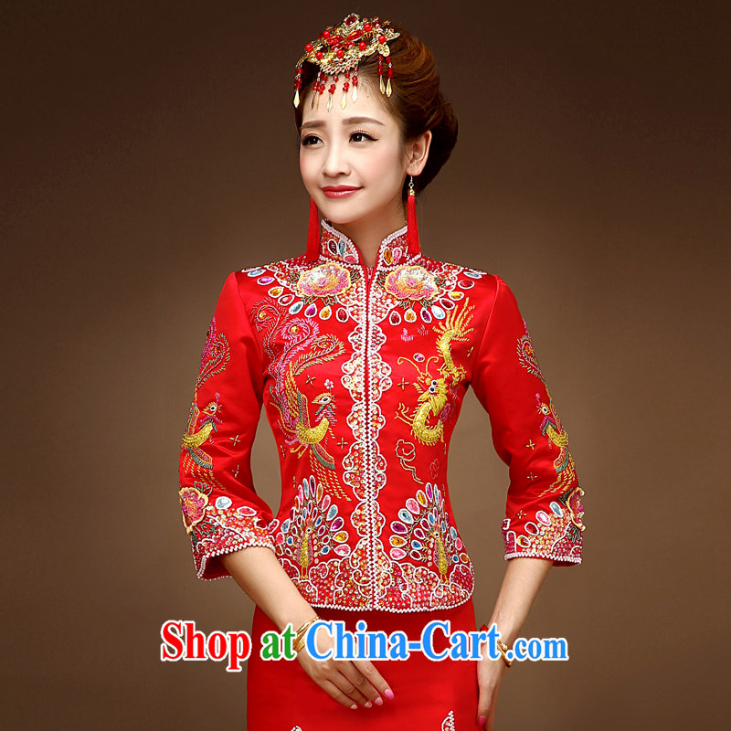 A good service is 2015 new autumn and winter brides with Phoenix and skirt wedding dress cheongsam dress uniform toast Sau Wo service red M
