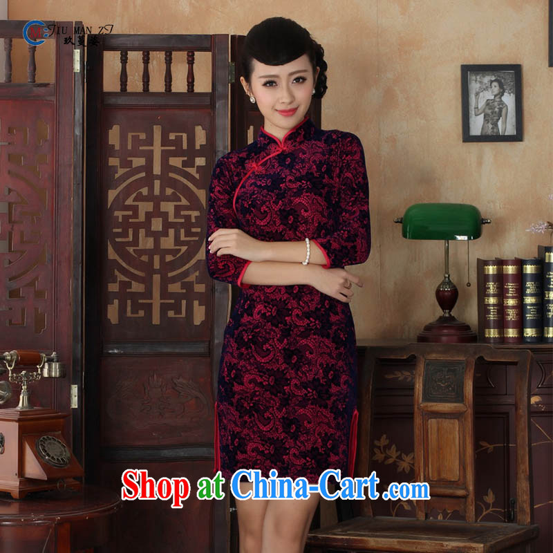 Capital city sprawl 2015 spring and summer noble gold velour style Beauty Fashion Ethnic Wind in the cuff for manual tray snaps cheongsam dress TD TD 0016 0016 170 /XL
