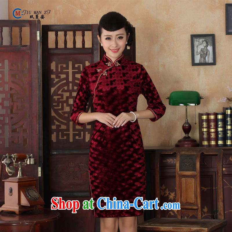 Ko Yo vines into colorful female spring and summer noble gold velour style Beauty Fashion Ethnic Wind 7 cuff cuff, collar cheongsam dress TD TD 0018 0018 180/3 XL