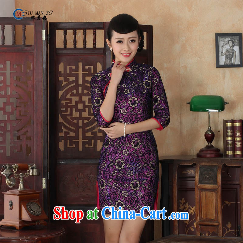 Ko Yo vines into colorful spring and summer-tang with stylish lace gold velour style beauty in improved cuff antique cheongsam dress TD TD 0017 0017 155/S