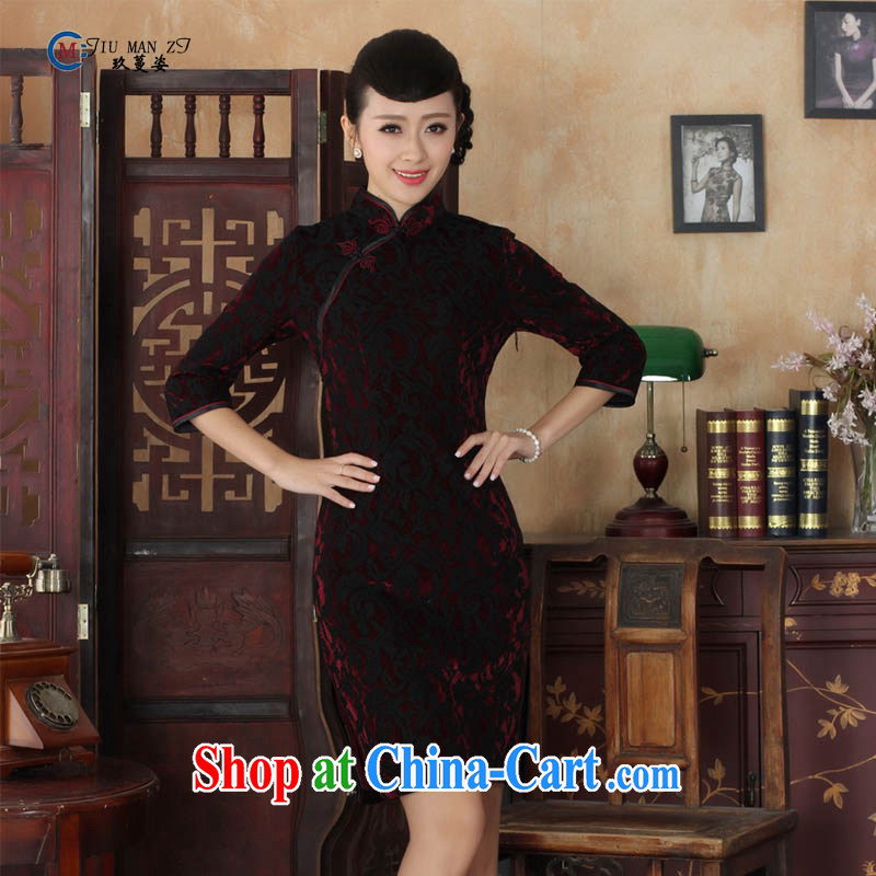 Ko Yo vines into colorful spring and summer Stylish retro style beauty lace gold wool, collar 7 cuff cheongsam dress the code TD TD 0022 0022 180/3 XL