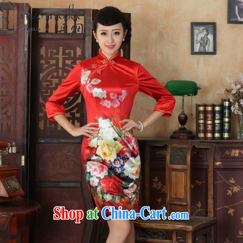 Bin Laden smoke fall outfit with Tang Women's clothes, for Chinese improved noble wife, Kim velvet cheongsam beauty short skirts, such as figure S