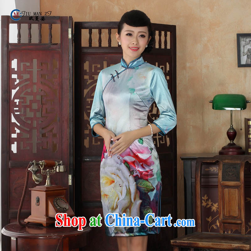 Ko Yo vines into colorful spring and summer new stylish Ethnic Wind and elegant 7 cuff gold velour beauty style cheongsam dress the code TD TD 0035 0030 175_2 XL