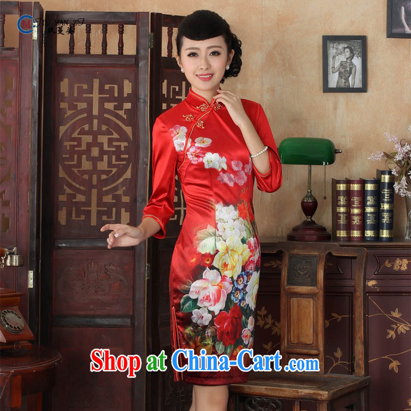 Ko Yo vines into colorful spring and summer new stylish Ethnic Wind and elegant 7 cuff gold velour beauty style cheongsam dress the code TD TD 0033 0033 180_3 XL