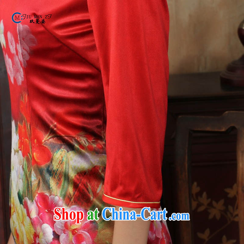 Ko Yo vines into colorful spring and summer new stylish Ethnic Wind and elegant 7 cuff gold velour beauty style cheongsam dress the code TD TD 0033 0033 180/3 XL, capital city sprawl, shopping on the Internet