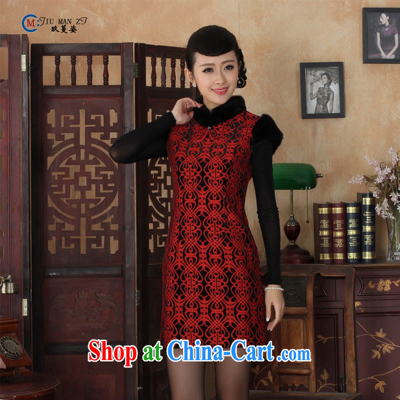 Ko Yo Mephidross colorful autumn and winter new stylish Chinese style lace gold velour the Ethnic Wind cultivating short-sleeve and collar cheongsam Y Y 0007 0024 175/2 XL