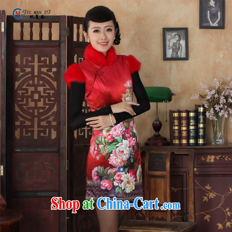 Ko Yo vines into colorful autumn and winter new stylish aura hair short-sleeved Ethnic Wind Lotus wool short sleeve cheongsam dress Y 0021 - C Y 0021 - C 175_2 XL