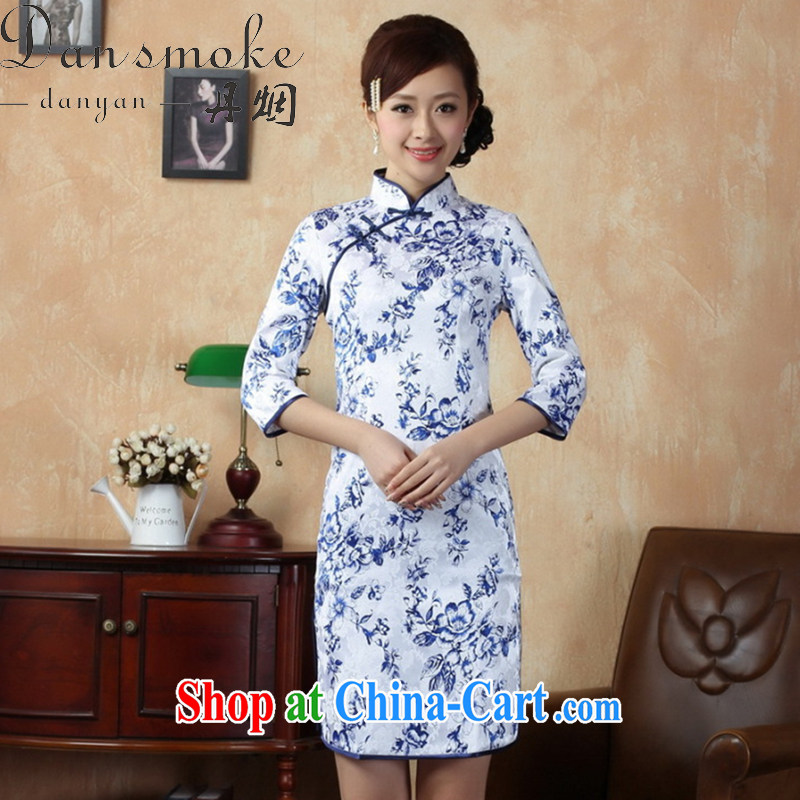 Bin Laden smoke fall outfit with new Tang is a leading Chinese improved a tight cotton blue and white porcelain cuff in cheongsam package mail as XL