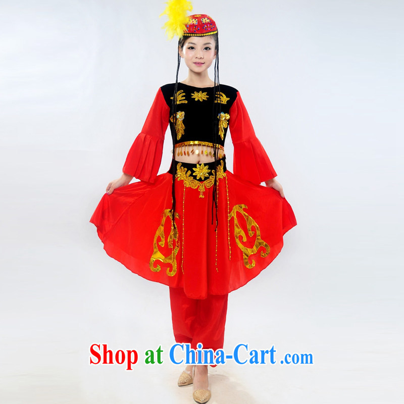 Dual 12 new special Xinjiang show clothing children's dance clothing stage costumes show girls the dress pants Kit HXYM - 0025 red 2 XL