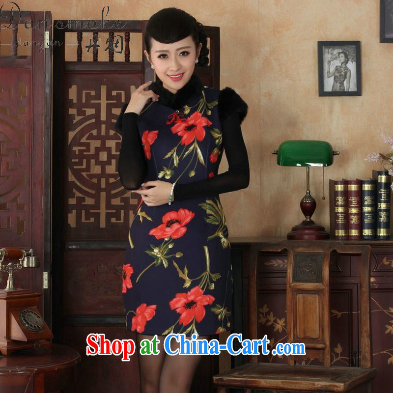 Dan smoke winter outfit with new women with Chinese leader, Mao collar Chinese improved retro warm stretch cotton short cheongsam as figure 2 XL