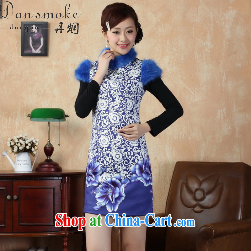 Bin Laden smoke cheongsam dress Chinese new paragraph for the Chinese improved gross cotton is short cheongsam dress antique show serving as figure 2 XL