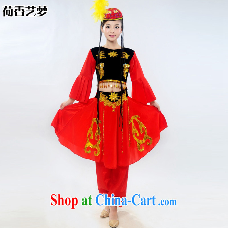 New special Xinjiang show clothing children's dance clothing stage costumes show girls the dress pants Kit HXYM 0025 red燲L
