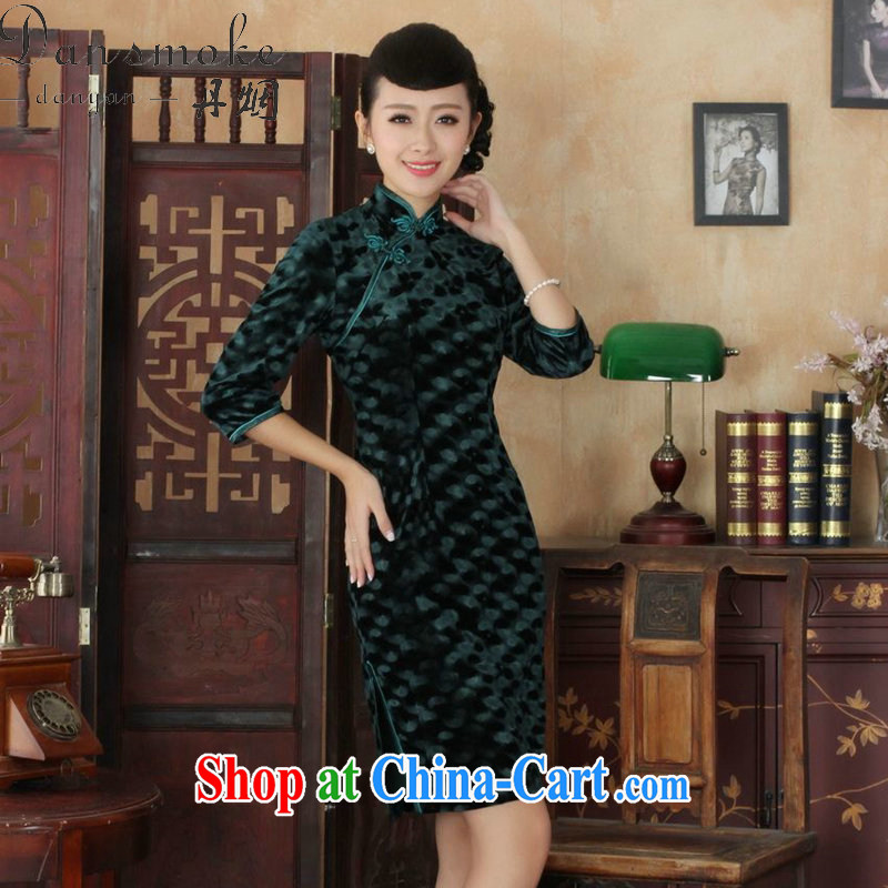 Bin Laden smoke autumn Tang Women's clothes outfit New paragraph for the Chinese improved noble wife, Kim velvet cheongsam beauty skirt - B green 3 XL