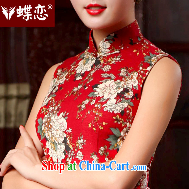 Butterfly Lovers 2015 spring new cotton the cheongsam stylish improved cheongsam dress daily retro cheongsam dress 46,024 red XXL