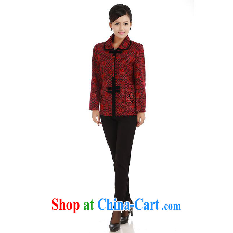 meropia new autumn replace stamp duty cultivating character Chinese shirt BS - AE lapel Tang 5 color deep red XL