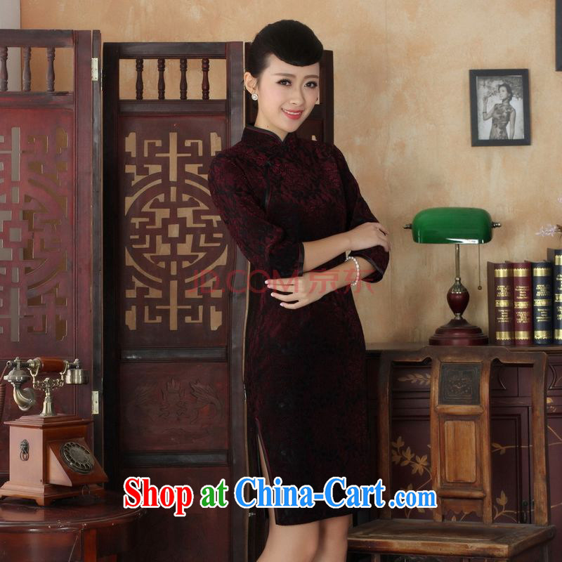 Cotton Joseph Chinese improved cheongsam dress long skirt-stretch lace gold velour cheongsam beauty skirt 7 cuff TD 0021 Map Color XXL