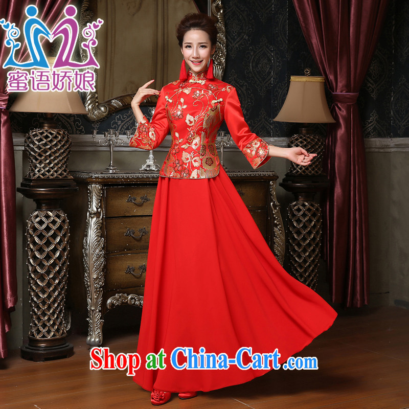 Honey, bride 2015 new bridal gown red winter Chinese wedding dresses, long-sleeved in the cheongsam dress code toast serving red XXXL