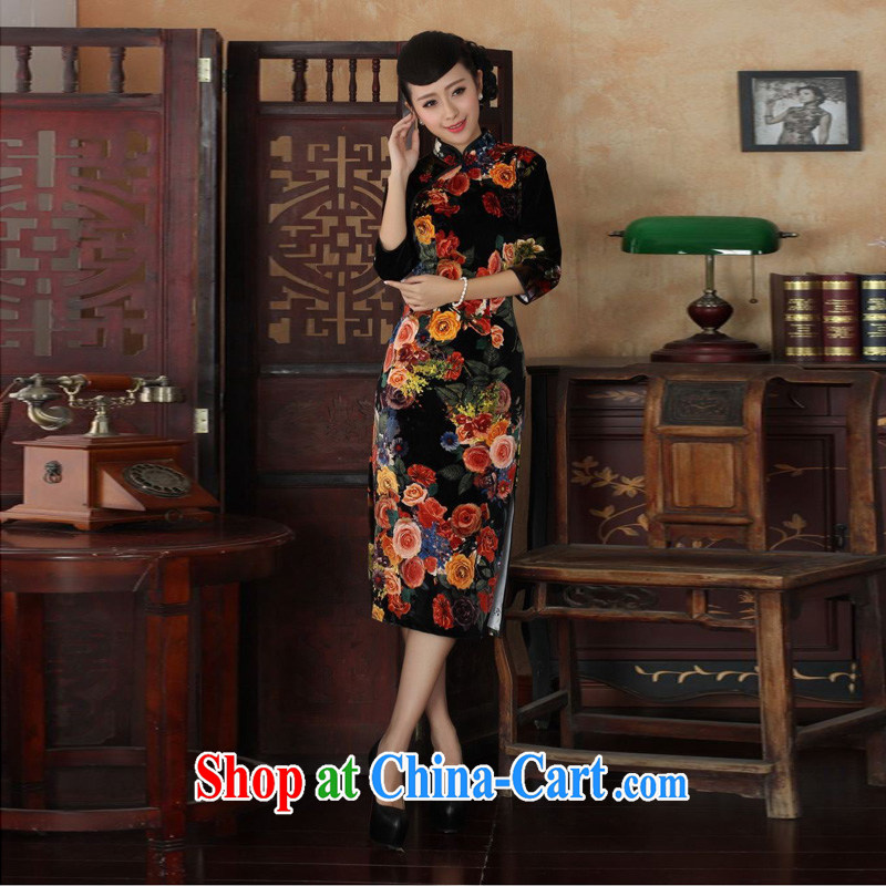 Mrs Ingrid sprawl economy 2014 elegant ladies handcrafted solid color-stretch the wool 7 cuff long cheongsam TD 0040 figure XXL